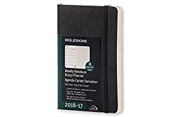 Moleskine 2016-2017 Weekly Notebook, 18M, Pocket, Black, Soft Cover (3.5 x 5.5)
