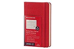 Moleskine 2016-2017 Weekly Planner, Horizontal, 18M, Pocket, Scarlet Red, Hard Cover (3.5 x 5.5)