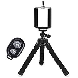 LSoug Universal Compact Tripod Stand – Remote Included – Flexible Octopus Cell Phone Camera Selfie Stick Tripod Mount for Smartphone / Digital Camera / GoPro Hero
