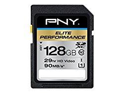 PNY Elite Performance 128 GB High Speed SDXC Class 10 UHS-I, U3 up to 95 MB/Sec Flash Card (P-SDX128U395-GE)