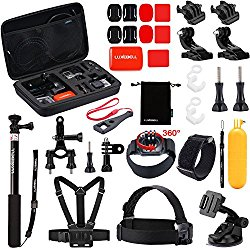 Luxebell 30-in-1 Outdoor Sports Accessories Kit for Gopro Hero 4 Session Black Silver Hero+ LCD 3+ 3 2 Camera and Sjcam Sj4000 Sj5000 – Chest Mount Harness / Head Strap / Floating Grip / Case
