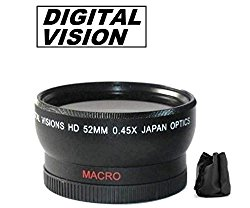 52mm Digital Vision Wide Angle Lens for Sony FDR-AX33 Camcorder