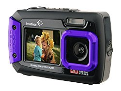Ivation 20MP Underwater Shockproof Digital Camera & Video Camera w/Dual Full-Color LCD Displays – Fully Waterproof & Submersible Up to 10 Feet (Purple)