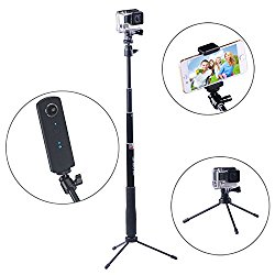 Smatree SmaPole Q3 Telescoping Pole / Selfie Stick with Tripod Stand for GoPro Hero 5/4/3+/3/2/1/Session Cameras / for Ricoh Theta S, M15 Cameras/ Compact Cameras / Cell Phones