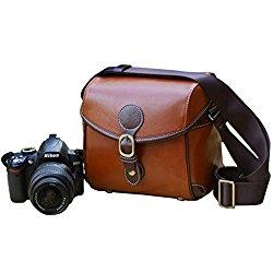 Topixdeals Vintage Look Britpop DSLR Waterproof Camera Bag for Canon Nikon Sony Pentax Red Brown