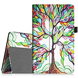 Fintie Folio Case for All-New Amazon Fire HD 8 (6th Generation, 2016 release), Slim Fit Premium Vegan Leather Standing Cover with Auto Wake / Sleep for Fire HD 8 Tablet (2016 6th Gen Only), Love Tree