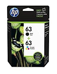 HP 63 Black & Tri-color Original Ink Cartridges, 2 pack (L0R46AN)