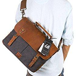 Langforth Leather Vintage Canvas Laptop Bag, 13″(L)x10.5″(H) x 4.1″(W), Grey