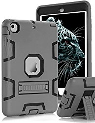 Topsky 2877893 Shock-Absorption Three Layer Armor Defender Full Body Protective Case for iPad Mini, Mini 2 , Mini 3, Mini Retina – Grey Black