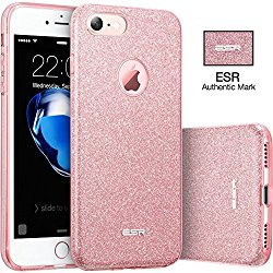 ESR iPhone 7 Makeup Series Back Cover Shinning Protective Bumper Bling Glitter Case for 4.7″ iPhone 7 – Rose Gold