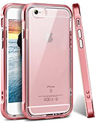 iPhone 6 Case, iPhone 6s Case, Ansiwee Reinforced PC Frame & Crystal Durable Shock-Absorption Flexible Soft Rubber TPU Bumper Hybrid Protective Case for Apple iPhone 6/6s 4.7inch (Rose Gold)