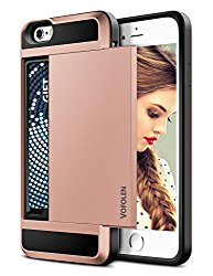 iPhone 6S Case, Vofolen Impact Resistant Hybrid iPhone 6 Wallet Case Protective Shell Shockproof Rugged Rubber Bumper Anti-scratch Hard Cover Skin Card Holder for iPhone 6 6S 4.7 inch-Rose Gold