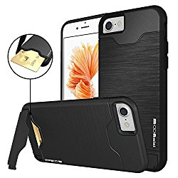 iPhone 7 Case, Moonmini Shockproof Slim Fit Dual Layer Protection Card Slot Holder Hybrid Cover with Kickstand for iPhone 7 (2016) – Black