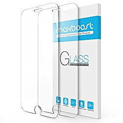iPhone 7 Screen Protector, Maxboost 2 Pack Tempered Glass Screen Protector For Apple iPhone 7 & iPhone 6/6s [3D Touch Compatible] 0.2mm Screen Protection Case Fit 99% Touch Accurate- Clear