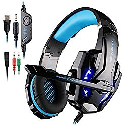 AFUNTA Gaming Headset for PlayStation 4 PS4 Tablet PC iPhone 6/6s/6 plus/5s/5c/5, 3.5mm Headphone with Microphone LED Light – Black + Blue