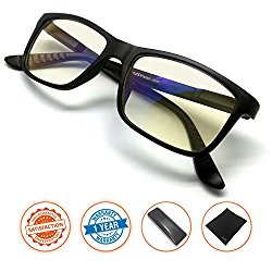 J+S Vision Blue Light Shield Computer Reading/Gaming Glasses – 0.0 Magnification – Anti blue light 100% UV protection Low color distortion, classic matte black frame – Essential Gaming Gear