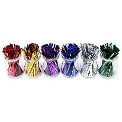 "1200pcs 4"" Metallic Twist Ties – 6 Colors"