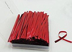 Mini Skater 800pcs 4″ Metallic Twist Ties – 7 Colors(Red)