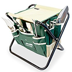 GardenHOME 7 Piece All-In-One Garden Tool Set,Heavy Duty Folding Stool, detachable Canvas Tool Bag and Heavy Duty Steel Tools