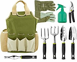Vremi 9 Piece Garden Tools Set with 6 Ergonomic Gardening Tools, includes Digger, Weeder, Rake, Trowel, Pruners, Transplanter, Garden Tote Bag and Gloves