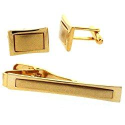 Colibri Cuff Link and Tie Clip Gold Tone in Gift Box AMS030000
