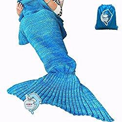 LAGHCAT Mermaid Tail Blanket Crochet and Mermaid Blanket for adult, Super Soft All Seasons Sleeping Blankets, 71″x35.5″, Blue