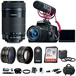 Canon EOS Rebel T6i DSLR Video Creator Kit with 18-55mm & 55-250mm Lens + 32GB Accessory Bundle