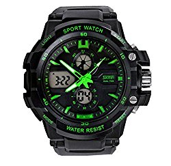 Tuliptrend Kids Stylish Water-proof Quartz Analog Watch Dual Time Display For Ages 7-15 Boys Girls Green