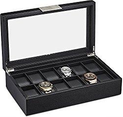 Watch Box for Men – 12 Slot Luxury Carbon Fiber Design Display Case, Large Holder, Metal Buckle -Black