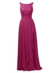 Alicepub A-Line Chiffon Bridesmaid Dress Long Party Evening Dresses Prom Gown Maxi, Magenta, US6
