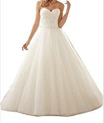 Coonek Ball Gown Backless White Wedding Dress Floor Length Bridal Gowns