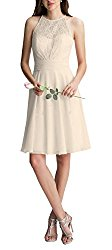 Firose Women's Illusion Halter A Line Short Lace Chiffon Prom Bridesmaid Dresses 22W Champagne