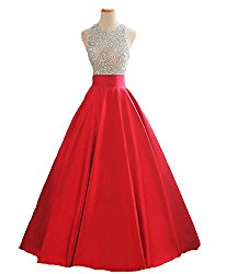 HEIMO Women's Sequined Evening Party Gowns Beading Formal Prom Dresses Long 2017 H160 6 Red