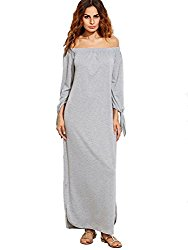 Verdusa Women's Off The Shoulder Tie Sleeve Casual Long Maxi Dress Grey X-Small