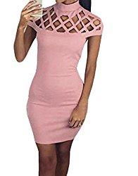 YLnini Womens Classic Hollow Short Sleeve Bodycon Dress Pink M