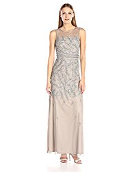 Adrianna Papell Women's Fully Beaded Long Sleevless Gown with Illusion Neckline, Platinum, 6