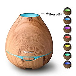 Aroma Diffuser For Essential Oil, Aromatherapy Ultrasonic Cool Mist Humidifier-Wood Grain-Soothing Color Night Light- Extremely Quiet with 300ml -for Home, Large room and Spa by Aromacare