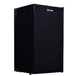 Costway 3.2 Cu. Ft. Compact Mini Refrigerator Single Reversible Door Freezer Black