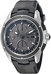 Emporio Armani Swiss Made Men's Titanium and Rubber Automatic Watch, Color:Black (Model: ARS9202)