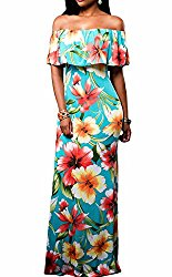 Flowers Off Shoulder Ruffle Party Homecoming Maxi Dress, Medium Turquoise