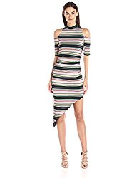 Nicole Miller Women's Festival Stripe Asymmetrical Dress, Multi/Multi, P