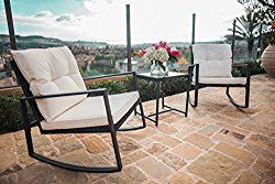 Suncrown Outdoor 3-Piece Rocking Wicker Bistro Set: Black Wicker Furniture – Two Chairs with Glass Coffee Table (White Cushion)