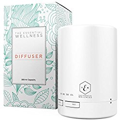 The Essential Wellness Essential Oil Diffuser & Ultrasonic Cool Mist Humidifier – BPA Free Diffusers for Essential Oils – 7 Colors & 4 Timer Settings – Auto Shut-Off – 300ml Capacity