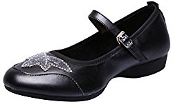 Abby 885-1 Womens Comfort Practice Beginner Ballroom Rumba Closed Toe Flat Cozy Slip-on Mary Jane Soft Sole Dance Sneakers