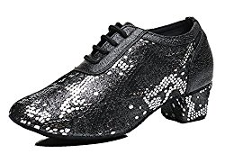 TDA Women's Classic Round Toe Lace-up Leather Ballroom Moderm Rumba Latin Dancing Shoes