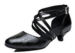 TDA Women's Kitten Heel Round Toe Synthetic Tango Ballroom Salsa Latin Dance wedding Shoes