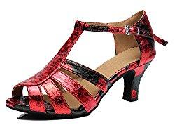 TDA Women's T-strap Peep Toe Floral Synthetic Ballroom Modern Latin Dance wedding Shoes