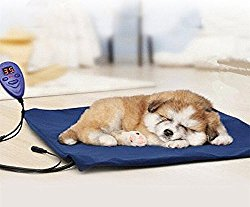 FLYMEI Heating Pads for Pets with Chew Resistant Cord Soft Removable Cover, Waterproof Electric Heating Pad for Dogs &Cats (Blue)