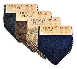 My Doggy Place – Ultra Absorbent Microfiber Chenille Dog Bath Dry Towel with Hand Pockets, Durable, Quick Drying, Washable, Prevent Mud Dirt (Color: Navy Blue)