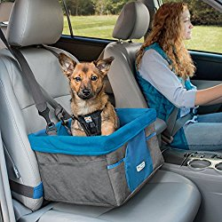Kurgo Heather Dog Booster Seat for Cars with Seat Belt Tether, Charcoal